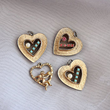 Heart Pendants - Heart Charms - Vintage Jewelry Lot - Repurpose Jewelry - Photo Style Prop - Wedding - Valentine's Day - I Love You Gift