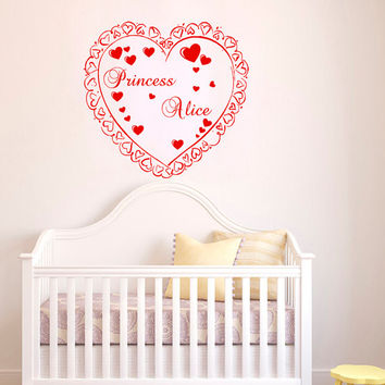 Personalized Name Princess Heart Girl Nursery Wall Decals - Wall Vinyl Decal - Interior Home Decor - Housewares Art Vinyl Sticker   L656