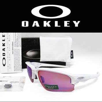 New OAKLEY Flak Draft Asia Fit Polished Wht / Prizm Golf Sunglasses OO9373-0670