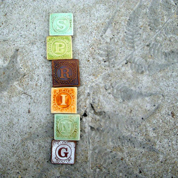 Ceramic Alphabet Tiny Magnets Made from Vintage Blocks 26 Letters