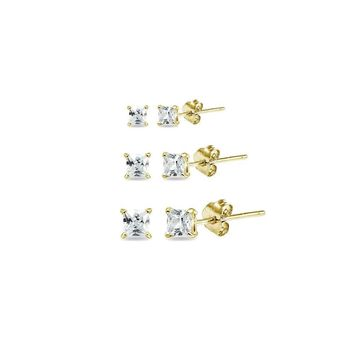 3 Pair Set CZ Princess Square Stud Earrings in Gold Plated Silver, 2mm, 3mm, 4mm