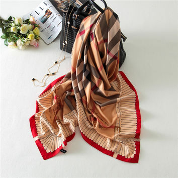 130x130 British Plaid Silk Square Scarf Brand Women Shawls Tartan Foulard carre soie femme Beach Wrap New