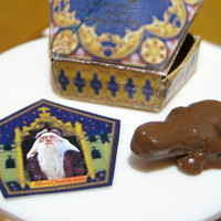 Chocolate Frog dollhouse miniature with free Famous Witch or Wizard Card