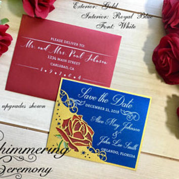 Beauty and the beast inspired Save the Date card laser cut pocket with printed red rose wedding
