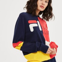 FILA letters splicing tunic Knitted sweater
