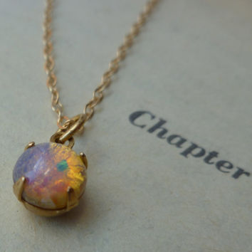 Opal stone necklace on thin gold chain by littlepancakes on Etsy