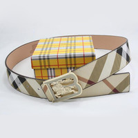 Perfect BURBERRY Woman Men Fashion Smooth Buckle Belt Leather Belt