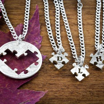 4 Best Friends Puzzle Pieces of a Heart Necklaces, with Initials, BFF Gifts for 4, Friendship or Family Jewelry