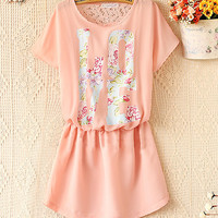 Spring and summer fashion chiffon short sleeve dress