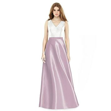Alfred Sung by Dessy D754 Floor Length Sateen Twill Bridesmaid Dress