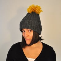 Crochet Beanie, Hat, Women, Ladies, Knitted, Winter Hat, Yellow Pom Pom Crochet Hat