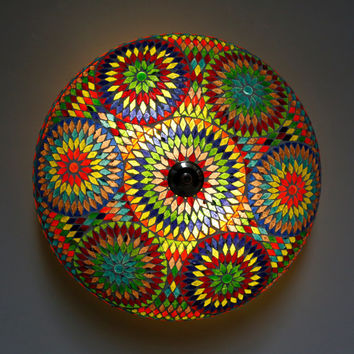 Mosaic ceiling light Ø 50 cm / 19.7 inch - multi colour mosaic - Turkish design