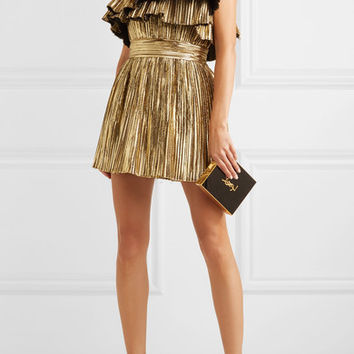 Saint Laurent - Strapless plissé-lamé mini dress