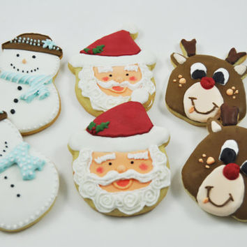 Santa Claus, Frosty the snowman and Rudolph the red nosed reindeer Christmas cookies - 1/2 Dozen - old saint nick - holiday sugar cookies