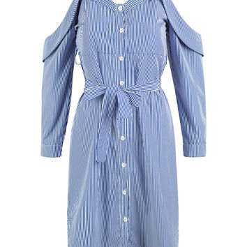 Blue Stripe Sweetheart Tie Waist Side Split Spaghetti Strap Dress