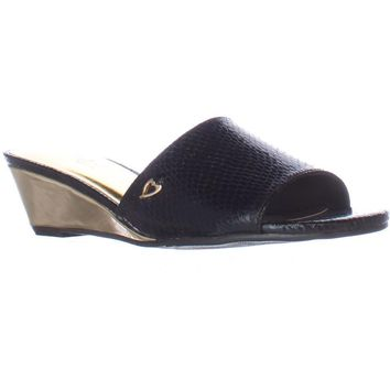 TS35 Riya Low Wedge Slide Sandals, Black, 11 US