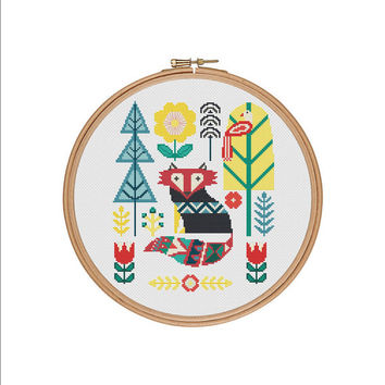 Fox cross stitch pattern, Fox cross stitch, Fox embroidery design, Fox embroidery pattern, Fox pattern, Primitive folk art, Folk fox, PDF