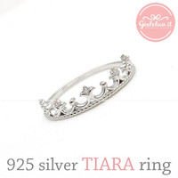girlsluv.it - sterling silver TIARA with crystals ring, 2 colors