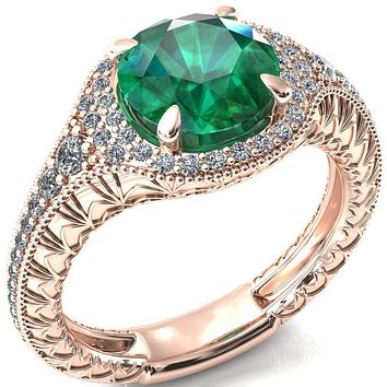 Kylee Round Emerald Accent Diamond Milgrain and Filigree Design 4 Prong Engagement Ring