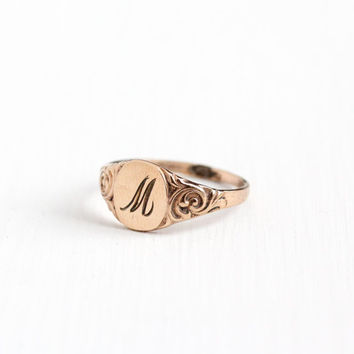 Vintage Monogrammed M 10k Rose Gold Filled Ring - Size 7 3/4 1920s Edwardian Art Deco Signet Initial Letter Swirled Art Nouveau Jewelry