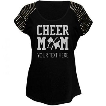 Custom Bling Cheer Mom: Misses Scoopneck Bling T Shirt