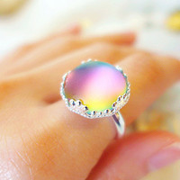 Rainbow Ring, Rainbow Jewelry, Simple Silver Ring, Northern Light Jewelry, Statement Ring, Aurora Borealis Jewelry, Colorful Ring for Women