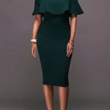 New Green Ruffle Bandeau Off Shoulder Backless Short Sleeve Elegant Homecoming Party Midi Dress