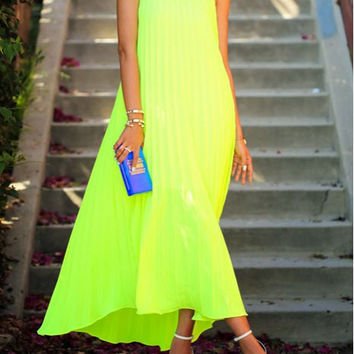 Neon Yellow Pleated Maxi Dress
