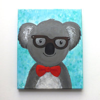 Hipster Koala Bear, Whimsical Art, whimsical animal art for childrens room or nursery decor