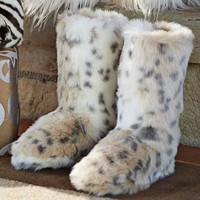 Fur Slippers - Snow Leopard