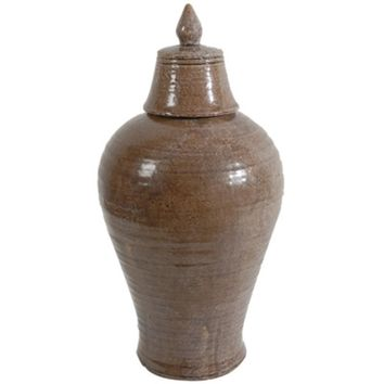 Antique Ceramic Lidded Jar, Brown By A and B Home
