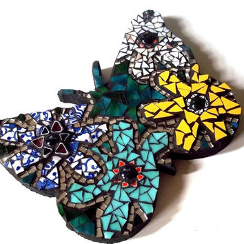 Butterfly Mosaic Wall Art, Broken China Mosaic, Decor, Housewarming, Hippie, Bohemian, Flower Power, Stained Glass, Wall Decor, Wall Hanging