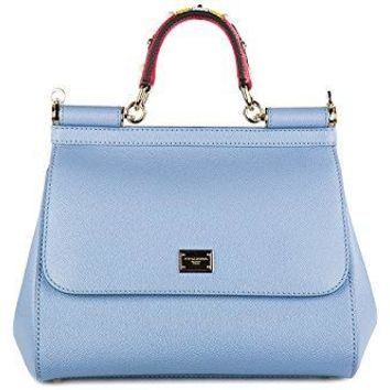 Dolce&Gabbana women's leather handbag shopping bag purse sicily dauphine blu