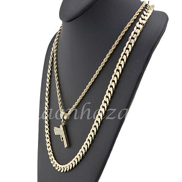 "MENS ICED OUT BLING ANGEL PENDANT DIAMOND CUT 30"" CUBAN ROPE CHAIN NECKLACE G35"