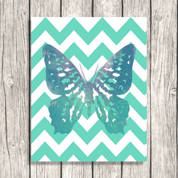 Zig Zag Decor - Chevron Wall Art - Mint Blue Green Butterfly Printable Download -Nursery Art, Kids Room Decor DIY DOWNLOAD