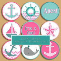 Nautical Theme Printable Cupcake Toppers Pink and Aqua Baby Shower Girl DIY Printable INSTANT DOWNLOAD