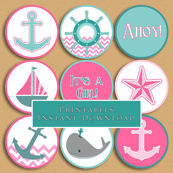 Superior Nautical Theme Printable Cupcake Toppers Pink And Aqua Baby Shower Girl DIY  Printable INSTANT DOWNLOAD