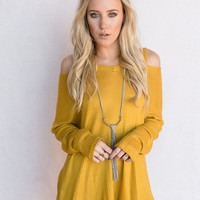 Open Shoulder Thermal Tunic In Mustard