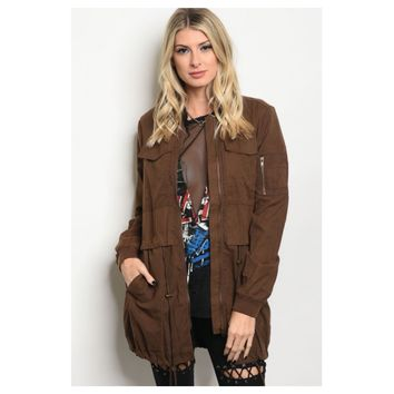 Closeout-Cozy Warm Pocket Detail Brown Jacket
