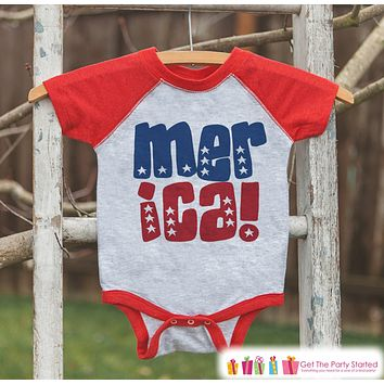 Kids 'Merica Outfit - 4th of July Onepiece or T-shirt - Red Raglan Shirt, Baseball Tee - American Pride Shirt, Baby, Toddler, Youth