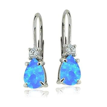 Sterling Silver Created Blue Opal & White Topaz Teardrop Leverback Earrings