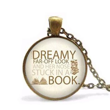Steampunk Beauty and the Beast Necklace Nose stuck in a book Belle and the Beast reader Jewelry Glass Dome Pendant Necklace
