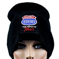 Highway 666 Road to Hell Beanie Cap