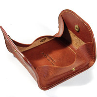 Leather Coin Holder with snaps Italian Vegetable Tanned Leather col. brown