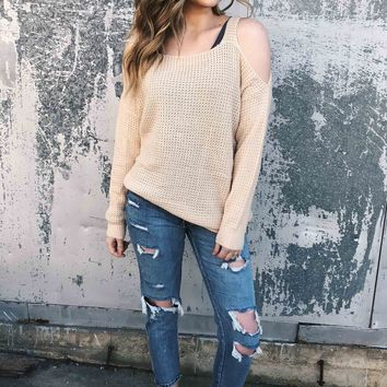 Waffle Love Cold Shoulder Sweater