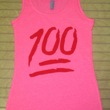 Ladies Jersey Tank Top Emoji 100
