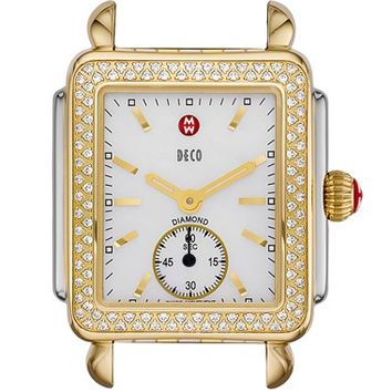 Women's MICHELE 'Deco 16 Diamond' Two-Tone Watch Case, 29mm x 31mm - Silver/ Gold