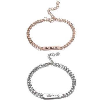Cool 1pc Trendy King Queen Stainless Steel Couple Bracelet For Women Men Bangles Jewelry Unique Gift For LoverAT_93_12