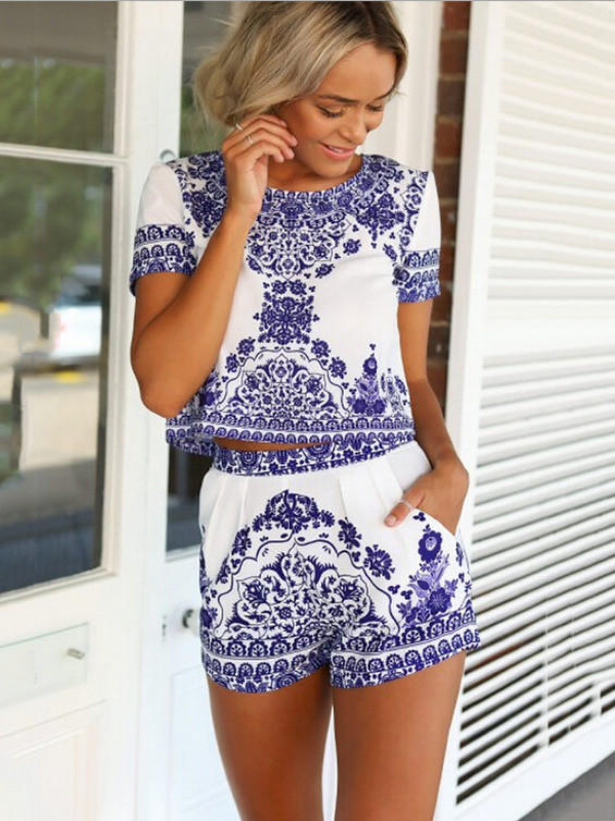 0f551776d601c9 Blue and White Porcelain Print Short from Western Moon