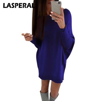 LASPERAL Christmas Sweater Women Pullover Long Sleeve Casual Long Sweater Dress Fashion Knitted Ugly Sweater Knitwear Z30